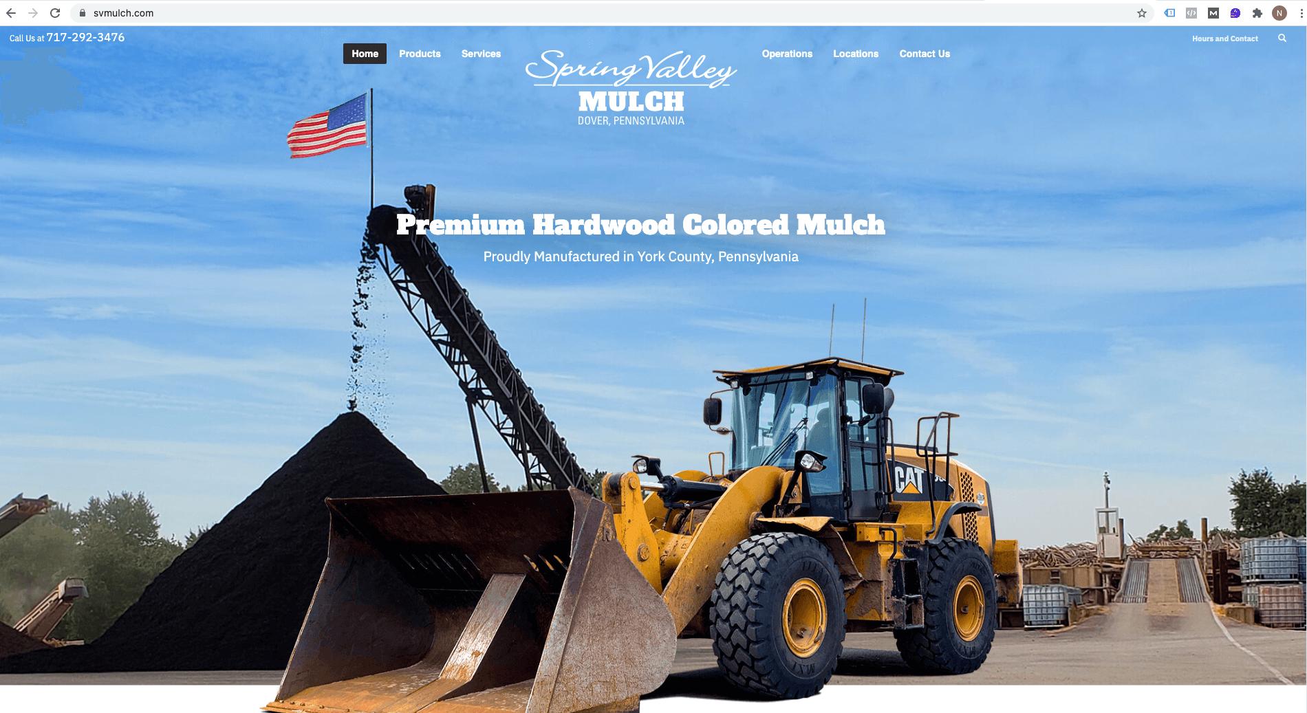 Spring Valley Mulch homepage design