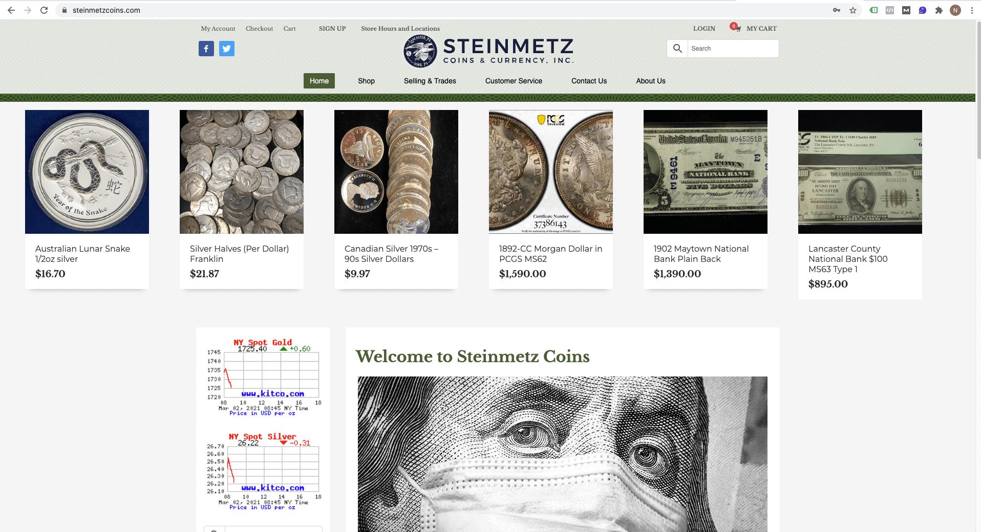 steinmetzcoins.com logo and site design